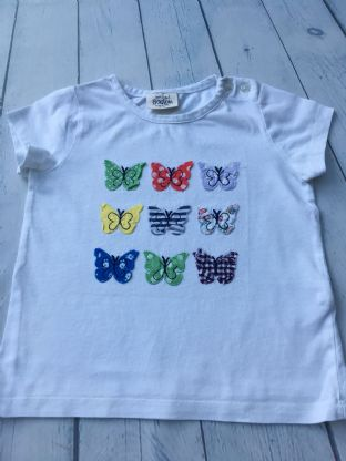Mini Boden applique butterfly white tshirt age 2-3